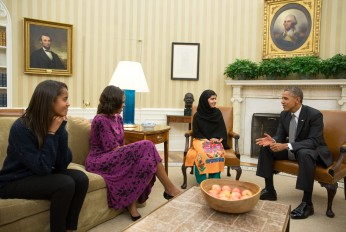 Malala Yousafzai met with President Obama and his family at the White House in 2013.