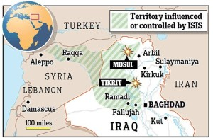 This is the first way that people are mapping ISIS control. This is the land that they have been known to have control of currently.
