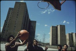 Kids Playing Basketball in Urban Chicago
