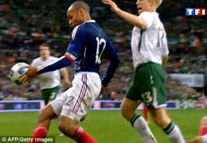France's famous handball against Ireland that allowed France to move on in the World Cup