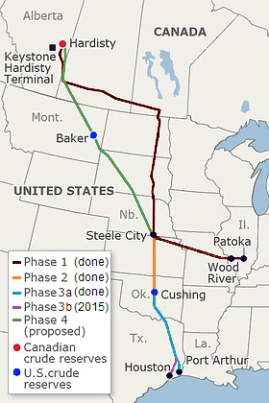 The map of the proposed Keystone XL Pipeline.