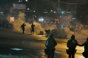 Riots following the grand jury decision in Ferguson, Missouri.