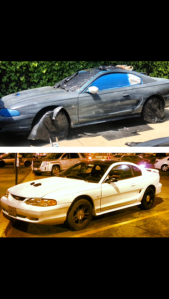 Oscar, before and after receiving his new matte white paint job