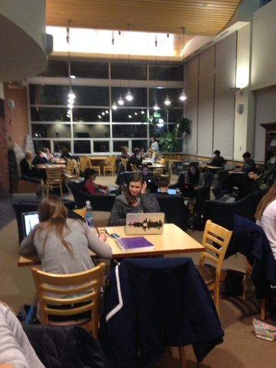 Not a single open table at the Ross Academic Center!  A very busy night for studying. (Taken by me)