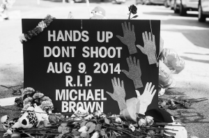 Makeshift memorial for Michael Brown