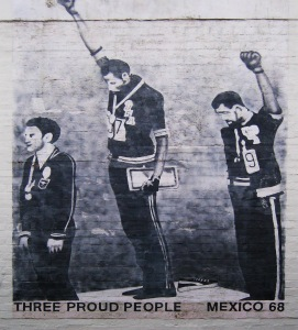 Depiction of Tommie Smith and John Carlos raising their hands in the Black Power salute at the 1968 Olympics